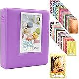 Albus Store 64 Pockets Mini Photo Album pour Fujifilm Instax Mini 7s 8 8+ 25 26 50s 70 90 Caméra Instantanée et Carte Nom (Violet)