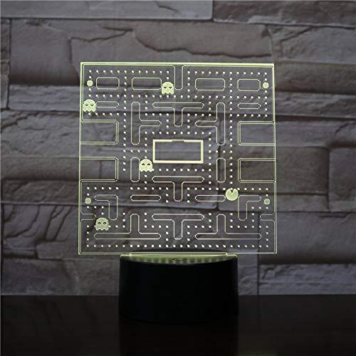 Pac Man Usb 3D Führte Nachtlicht Multicolor Rgb Dekorative Lichter Jungen Kind Kinder Baby Geschenke Spiel Pacman