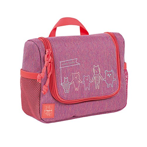 LÄSSIG Kulturtasche Mädchen zum Hängen mit Namensschild Kulturbeutel Waschbeutel Waschtasche Kinder / Mini Washbag, About Friends (Pink Kid Zahnpasta)