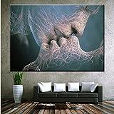 Jixing Farbe Liebe Kuss Abstrakte Leinwand Die Bilder Öl Für Haus Moderne Dekoration Print Decor, Bunte, 50 * 80 cm