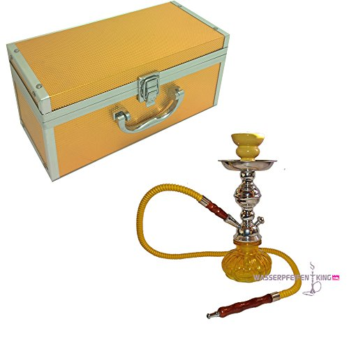 Mini ShiSha Angebot kleine ShiSha für unterwegs gelb SALE mini Hookah mit Koffer