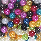 250 x Kunstperle 8mm Perlen Wachsperlen Dekoperlen Bastelperlen mit Loch Kunstperlen, Farbe:bunt