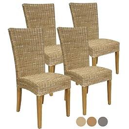 Casamia Cardine Lot de 4 chaises en rotin Blanc/Marron Cappuccino sans Coussin Taille Unique