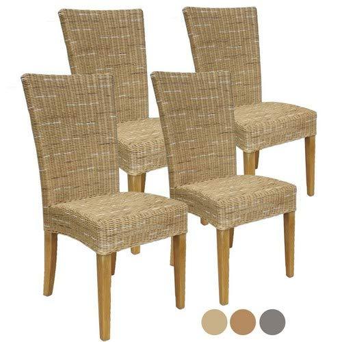 Casamia Rattan-Stuhl-Set Cardine, 4 Stück weiß oder braun Cappuccino ohne Sitzkissen, One Size