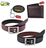 #4: Elligator Classic Men's Synthetic Leather Belt ,Wallet With Key Chain Combo for Men's(Two Belt,One Wallet With One KeyChain)