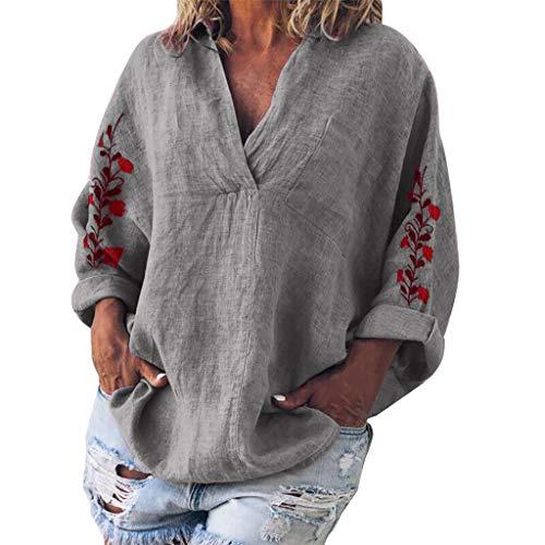 Deman outfit-Artistic9 Damen Roll-up-Ärmel V-Ausschnitt Tunika Tops Revers Blume Gesticktes T-Shirt Einfarbige Bluse Leichte Dame Herbst Casual Active Pullover -