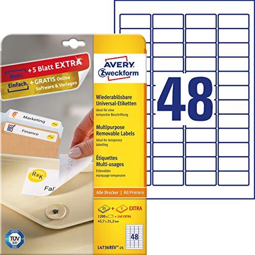 AVERY Zweckform L4736REV-25 Etiketten (A4, 1200 Plus 240 Universal-Etiketten extra, ablösbar, 45,7 x 21,2 mm, 30 Blatt) weiß