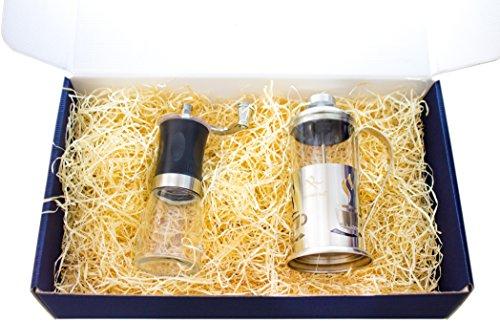 Tolles Kaffee Geschenk Set - 2 teilig – 1 Kaffeemühle und einem Kaffebereiter- Stempelkanne das perfekte Geschenk