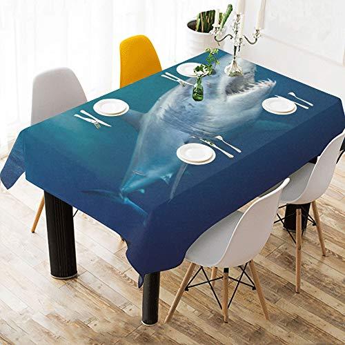 Reopx Heftige Awful Shark Benutzerdefinierte Baumwolle Leinen Gedruckt Platz Fleck Beständig Tischwäsche Tuch Abdeckung Tischdecke Für Küche Home Esszimmer Tischplatte Decor 60x84 Zoll
