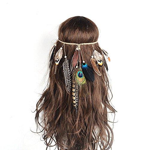 aukmla Tribal Feder Stirnband Boho Pfau Perlen Masquerade Fancy Kleid Strassbesatz Hippie Haar Zubehör (Hippie Make Up Und Haare)