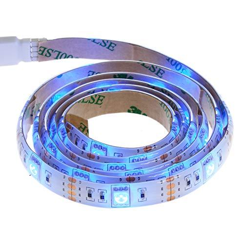 Smartfox LED Strip Leuchtstreifen Lichtband Leuchte Deko 50cm batteriebetrieben selbstklebend in blau