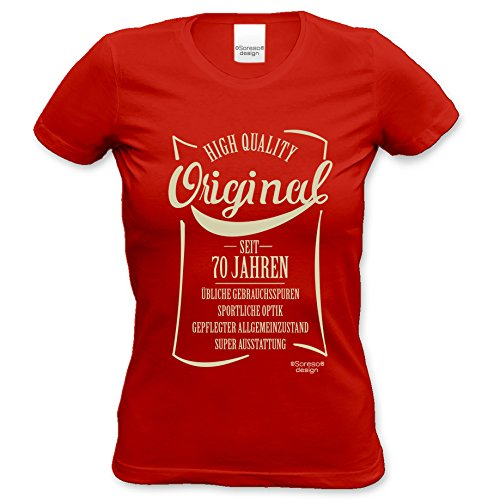 Geschenkidee Frauen Geschenk zum 70. Geburtstag :-: Damen kurzarm T-Shirt Original seit 70 Jahren :-: Geburtstagsgeschenk Mama Oma Schwester Freundin Farbe: rot Rot