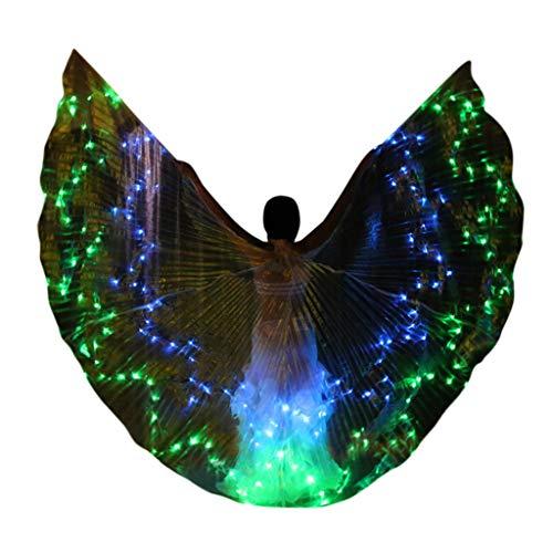 bloatboy 168 LED Farbe Bauchtanz Schmetterling Isis Flügel - Bauchtanz Dance Leistung Kostüm Performance Bekleidung für Bühnen Weihnachten Party (Grün)