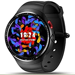 LEMFO LES1 - Teléfono 3G Smartwatch Android 5.1 Quad Core 1.0GHz 1GB / 16GB, Monitor de ritmo cardíaco WiFi Podómetro Bluetooth GPS cámara de 2MP - Negro
