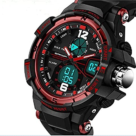 QBD Montre numérique-analogique avec alarme Chronomètre chronographe Sport – étanche à50m–Coffret cadeau de luxe Rouge (G)