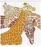 Abakuhaus Duschvorhang, Skizze Einer Giraffe Familie Wildlebende Tiere in der Afrikan Safari Tier Camouflage Druck Déco, Wasser und Blickdicht aus Stoff mit 12 Ringen Schimmel Resistent, 175 X 200 cm