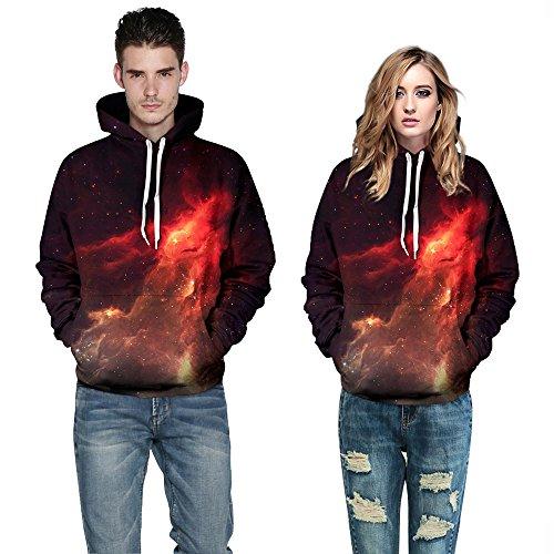 Bettydom Herren Galaxy Stil Unisex Slim Langarm Casual Wear Mann Sweatshirt Kapuzenpullover Hoodies 4 Flamme-Star