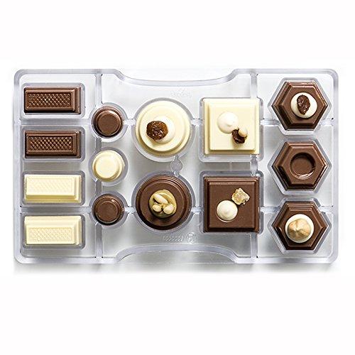 Decora stampo cioccolatino geometrico, policarbonato, trasparente, 200 x 120 x 22 mm
