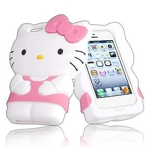 3D Hello Kitty Rosa Soft Silikon Case Hülle Schutzhülle Tashe für iphone 5