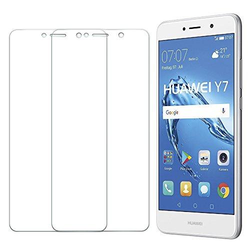 [2 Unidades] Protector de Pantalla Huawei Y7 2017, Senisttech 9H Dureza Cristal Vidrio Templado Para Huawei Y7 2017, 0.33mm Ultra Transparencia HD, 3D Touch Compatibles, Instalación Fácil