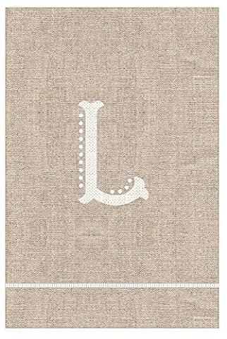 Initiale L Monogramm Hand auf French Knoten Leinen Gästetuch 53,3cm