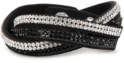 styleBREAKER weiches Strass Armband, eleganter Armschmuck mit Strassteinen, Wickelarmband, 2x2-Reihig, Damen 05040004, Farbe:Schwarz/Schwarz-Klar
