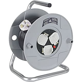 Brennenstuhl Standard 3-way socket cable reel (25m extension cord), cable drum with thermal cut-out protection, MADE IN GERMANY, cable colour: black