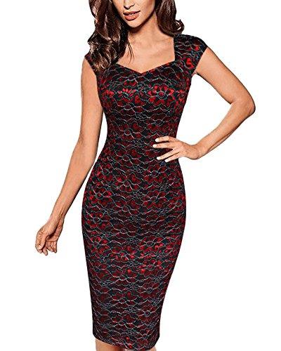 Abito da Donna Cerimonia Pizzo Cocktail Dress Party Vestito Corti Vestitino Tubino Casual Rosso