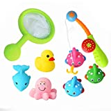 Floating Bath Toy and Bathtub Fishing Games,BBLIKE 8pcs Kids Bath Toys with Net and Rod,Bright Color and Cute Sea Animals for Baby Bathtime Fun,BPA Free