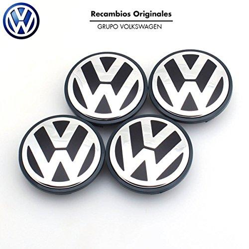 Recambio Original Volkswagen VW Tapacubos Llanta de Aluminio (Golf 5, 6, Jetta, Beetle, Passat B6...) 56mm..) Juego de 4 piezas