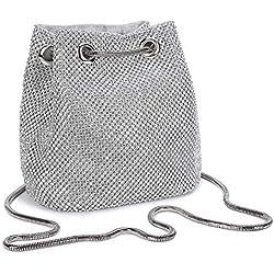 Bolso de Noche Bolso de Hombro Mujer Glitter Diamond Embrague Bolsos de Hechos a Mano Cadena de Encogimiento para Boda/Fiesta/Baile-Plateado
