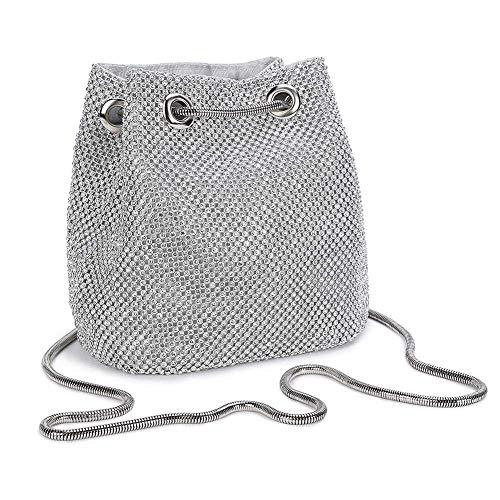 UBORSE Damen Abendtasche Clutch Umhängetasche Kleine Pailletten Handtasche Schultertasche Kette Tasche für Hochzeit Party Disko - Silber -