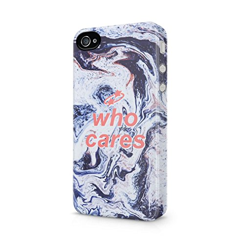 Who Cares White Trippy Water Marble Print Kompatibel mit iPhone 4 / iPhone 4S SnapOn Hard Plastic Phone Protective Fall Handyhülle Case Cover
