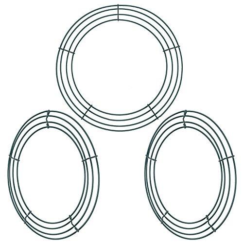 3 Packungen Dunkelgrün 12 Zoll Draht Kranz Ringe Draht Kranz Rahmen Jahr Valentines Dekoration (Stil B) (Stil A) (Valentines Kranz)