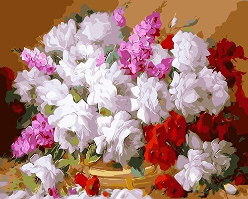 Gardenia-geschenk-set (Malen nach Zahlen Für Erwachsene DIY Home Decor Weiße Gardenia Blumen Malen Set Farbe Für Junior-Framed 40X50 cm)
