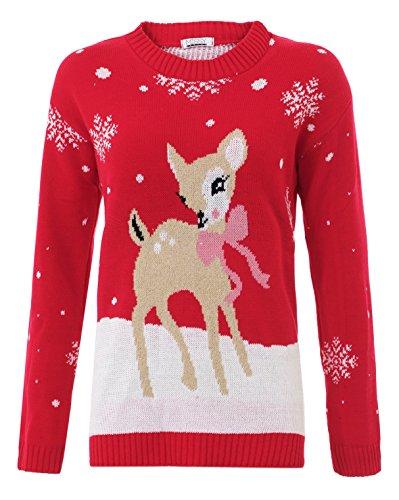 Style Divaa -  Maglione  - Maniche lunghe  - Donna Rosso Bambi-Red