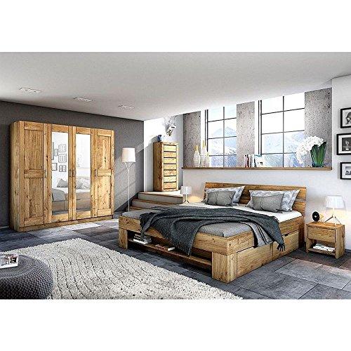 moebelstore24 Futonbett Schlafzimmerbett Sara Wildeiche Massiv geölt 140 x 200 cm inkl. 4 Bettkästen