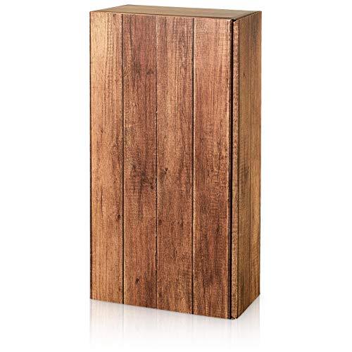 Weinkarton Weinpräsentkarton Holzkiste Timber Rustikal Präsentkarton für 2 Flaschen Maße : 360 x 180 x 90 mm VE 25 Stück