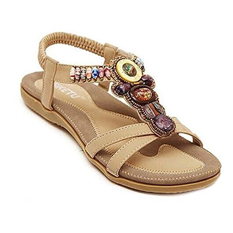 Women's Round Peep Toe Bead Elastic T-Strap Bohemia Roman Sandals Summer Beach Post Sandals Flip Flops Flat Shoes Thongs (UK 6(Asia 40),