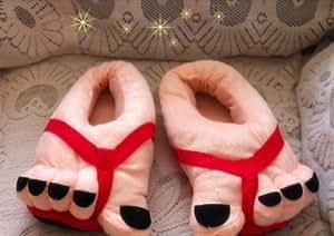 Toe hiver dr?le Big pieds au chaud chaussures pour adultes cadeaux chaussons Nouveaut¨¦ peluche douce (Rouge)