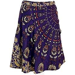 GURU-SHOP, Falda Corta, Mini Falda Boho, Violeta, Sintético, Tamaño:One Size, Faldas Cortas