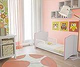 Polini Kids Babybett Kombi-Kinderbett Simple 140 x 70 cm in verschiedenen Farben (Weiß-Rosa)