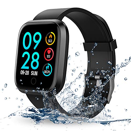 Fitness Smartwatch, RIVERSONG Orologio Fitness Tracker Impermeabile Bluetooth Smart Watch con Cardiofrequenzimetro Pedometro Chiamata/Messaggio Promemoria per Android IOS