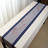 Broderie Tassel Chemins De Table Lavable Coton Lin Table Runners Napperon Infroissable Nettoyage Facile Cafe Restaurant Fête D'anniversaire (Color : Gray, Size : 30 * 260cm)