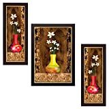 #10: Delight Flower Painting with Brown Frame Set of 3