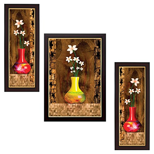 Delight Flower Painting with Brown Frame Set of 3