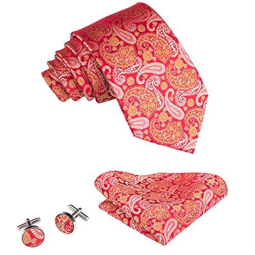 Gold Krawatten-tasche (Hi-Tie Rote Gold Krawatte Hochzeitsfest Set Seide)
