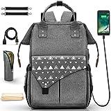 Dookey Baby Wickelrucksack, Babytasche für Reise Große Kapazität, Multifunktions-Reise-Rucksack Wasserdicht Fächer Praktischer Rucksack mit USB-Lade...