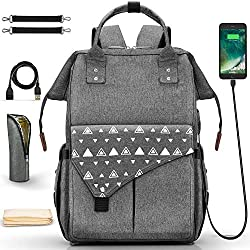 Dookey Baby Wickelrucksack, Babytasche für Reise Große Kapazität, Multifunktions-Reise-Rucksack Wasserdicht Fächer Praktischer Rucksack mit USB-Lade Port/Kinderwagenhaken/Wickelunterlage