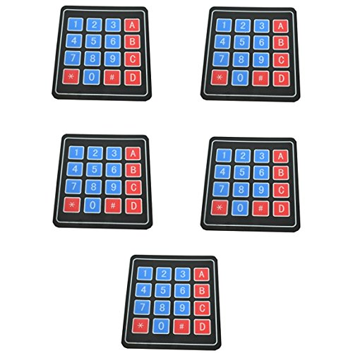 5pcs 4x4 Membrane Switch Matrix Keypad Thin and Flexible with Adhesive Back for Easy Surface Attachment from Optimus Electric (Light Custom Switch)